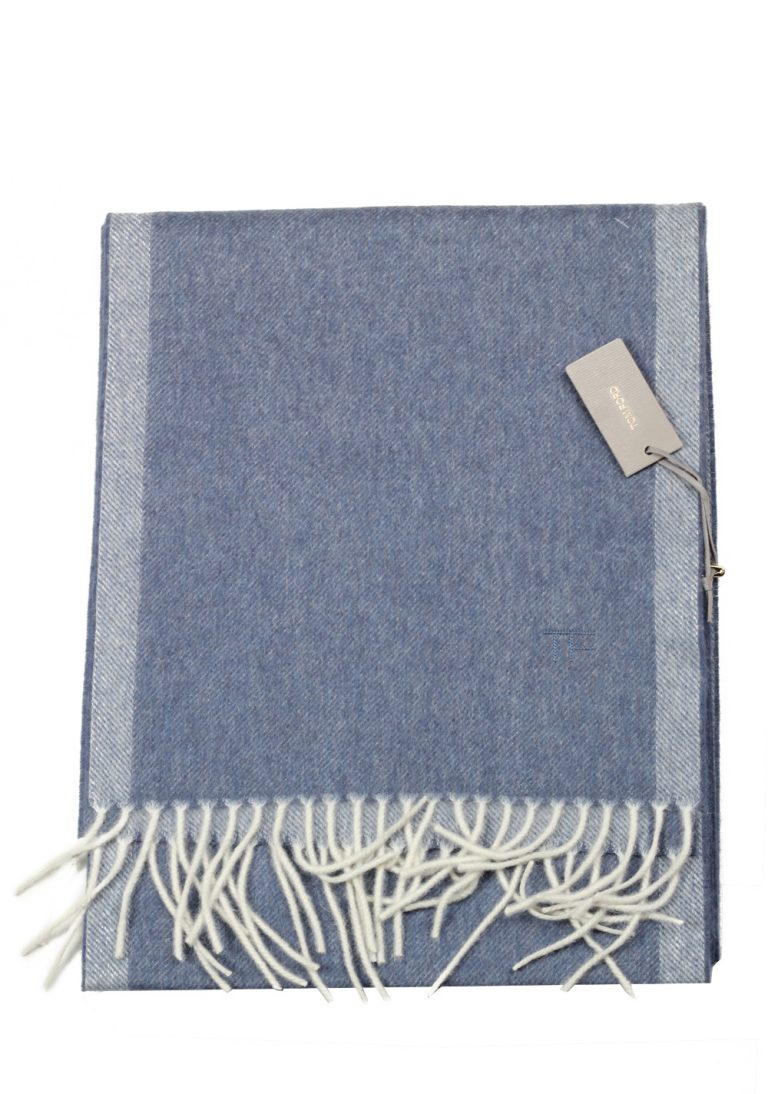 Tom Ford Steel Blue Wool Alpaca Cashmere Signature Scarf 82″ / 11″ - thumbnail   Costume Limité