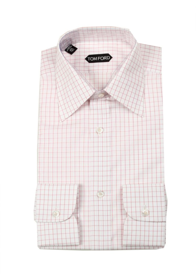 TOM FORD Checked White Pink Dress Shirt Size 40 / 15,75 U.S. - thumbnail | Costume Limité