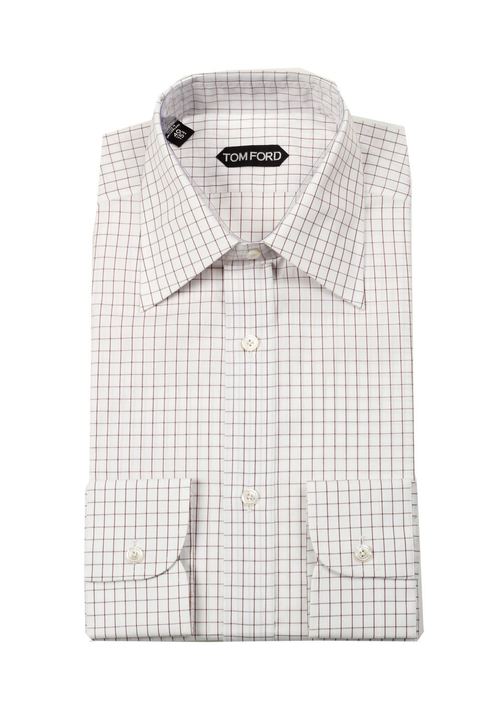 Tom ford checked white brown dress shirt size 40 15 75 u for Size 15 dress shirt