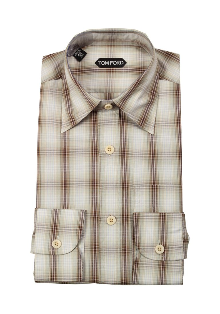 TOM FORD Checked Green Brown Dress Shirt Size 40 / 15,75 U.S. - thumbnail | Costume Limité