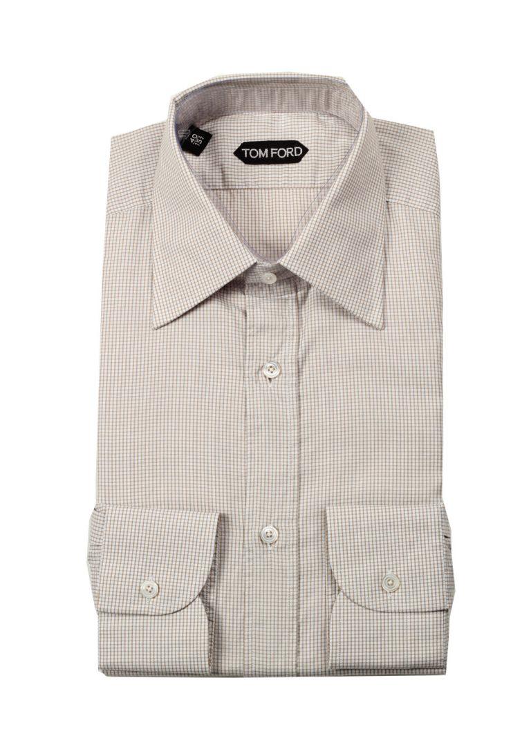 TOM FORD Checked White Brown Dress Shirt Size 40 / 15,75 U.S. - thumbnail | Costume Limité