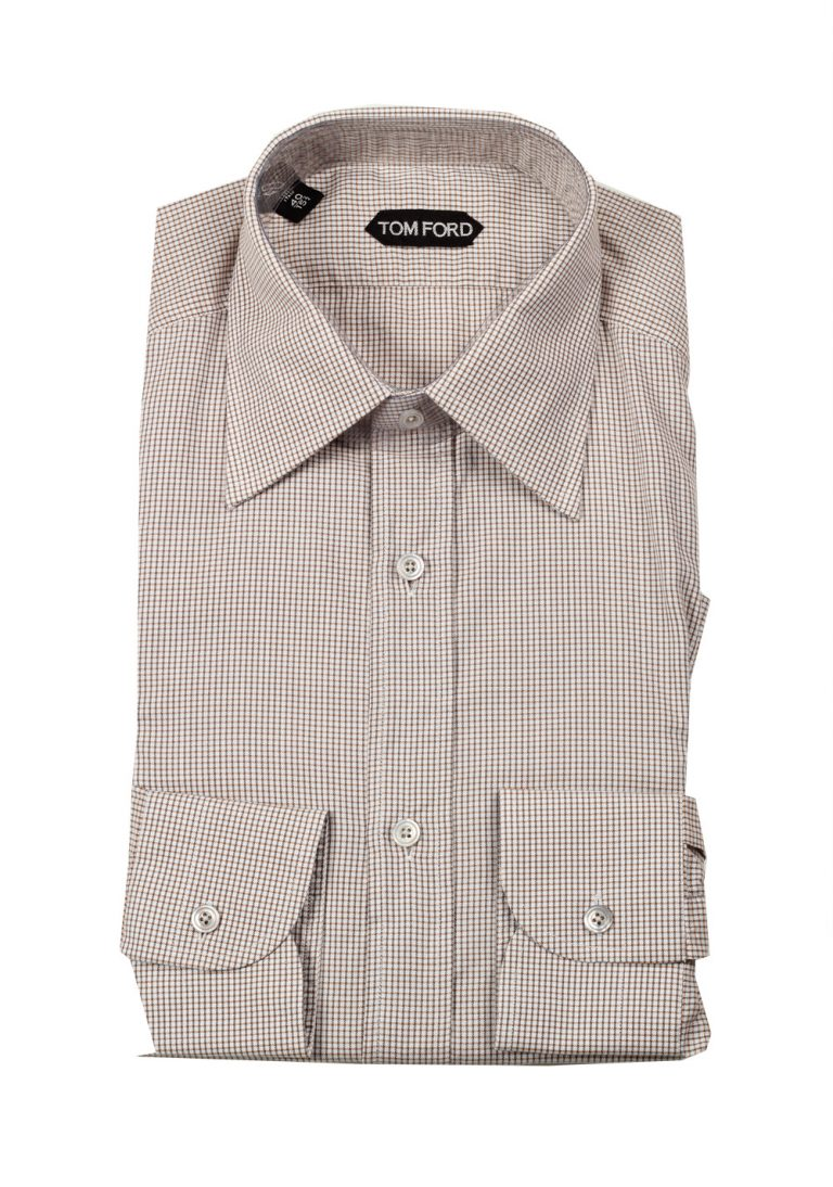 TOM FORD Checked White Brown Dress Shirt Size 40 / 15,75 U.S. - thumbnail | Costume Limité