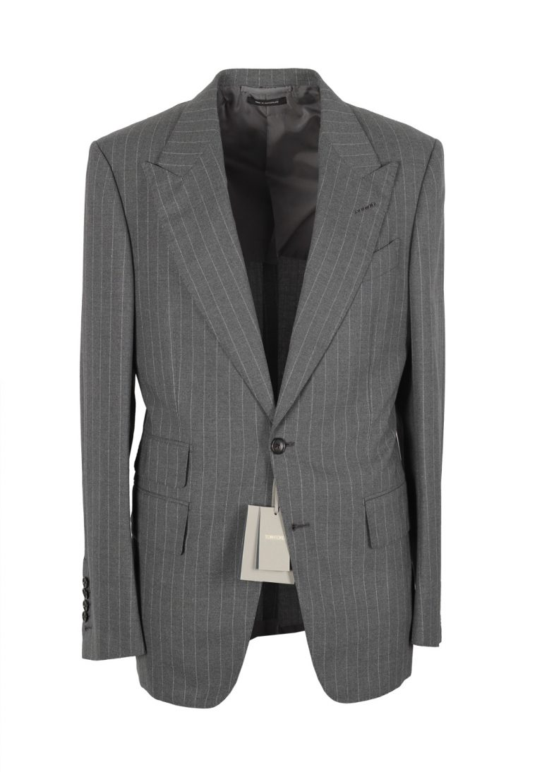 TOM FORD Shelton Striped Gray Suit Size 46 / 36R U.S. - thumbnail | Costume Limité