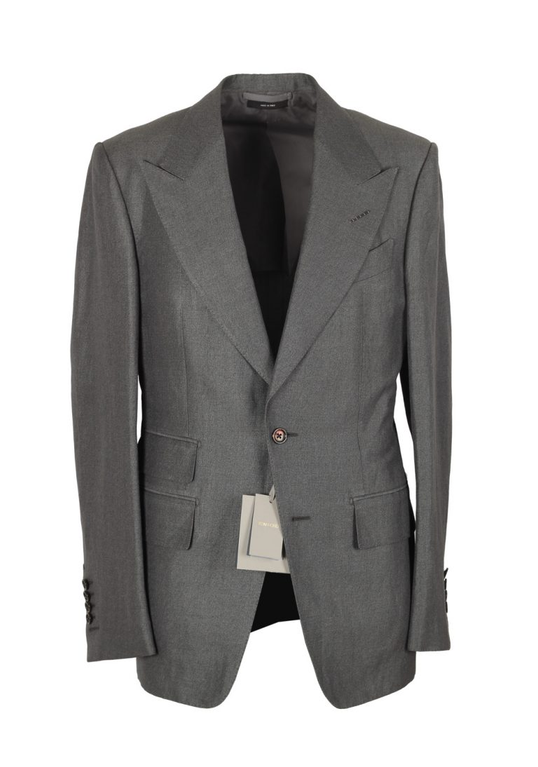 TOM FORD Shelton Gray Suit Size 46 / 36R U.S. In Silk Linen - thumbnail | Costume Limité