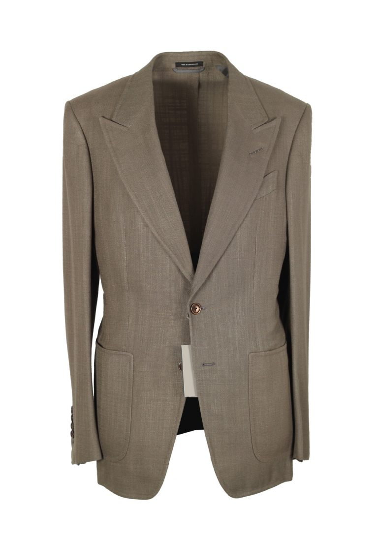 TOM FORD Shelton Greenish Gray Suit Size 46 / 36R U.S. In Rayon - thumbnail | Costume Limité