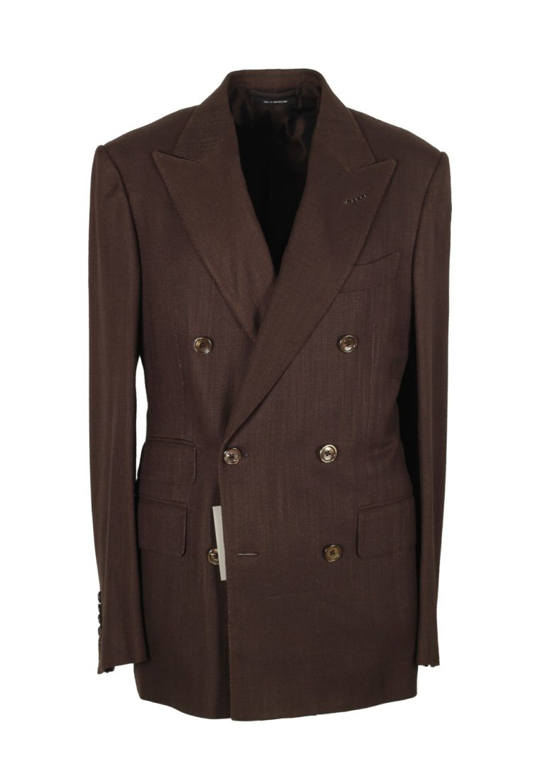 TOM FORD Shelton Double Breasted Brown Suit Size 46 / 36R U.S. Wool - thumbnail | Costume Limité