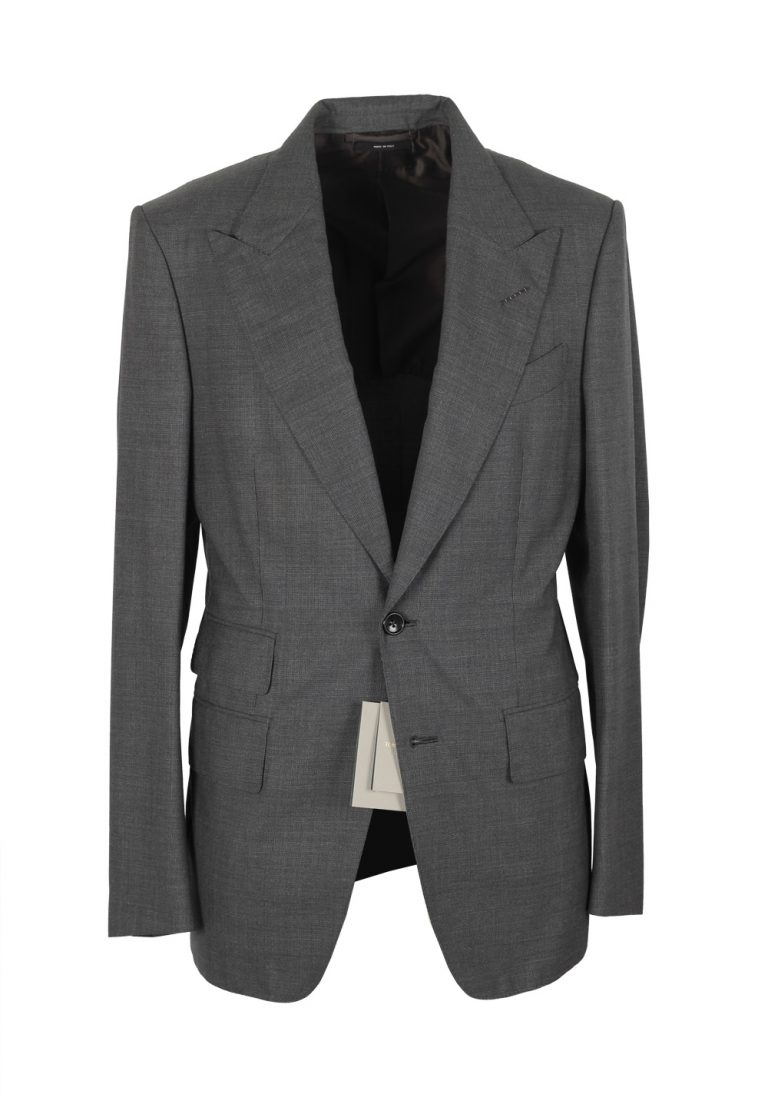 TOM FORD Shelton Gray Checked Suit Size 46 / 36R U.S. In Wool - thumbnail | Costume Limité