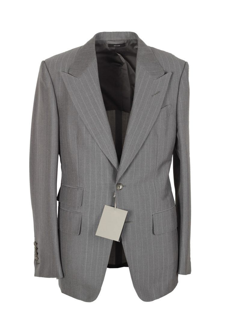 TOM FORD Shelton Striped Gray Suit Size 46 / 36R U.S. In Mohair Wool - thumbnail | Costume Limité