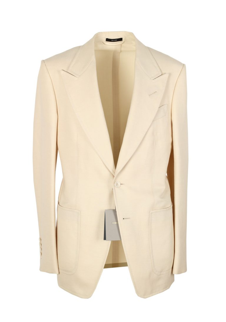 TOM FORD Shelton Ivory Suit Size 46 / 36R U.S. In Wool Linen Mohair - thumbnail | Costume Limité