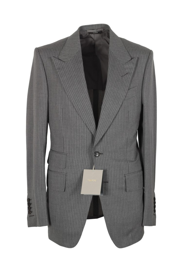 TOM FORD Shelton Striped Gray Suit Size 46 / 36R U.S. In Wool - thumbnail | Costume Limité