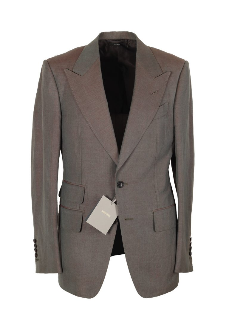 TOM FORD Shelton Grayish Copper Suit Size 46 / 36R U.S. In Silk Linen - thumbnail | Costume Limité