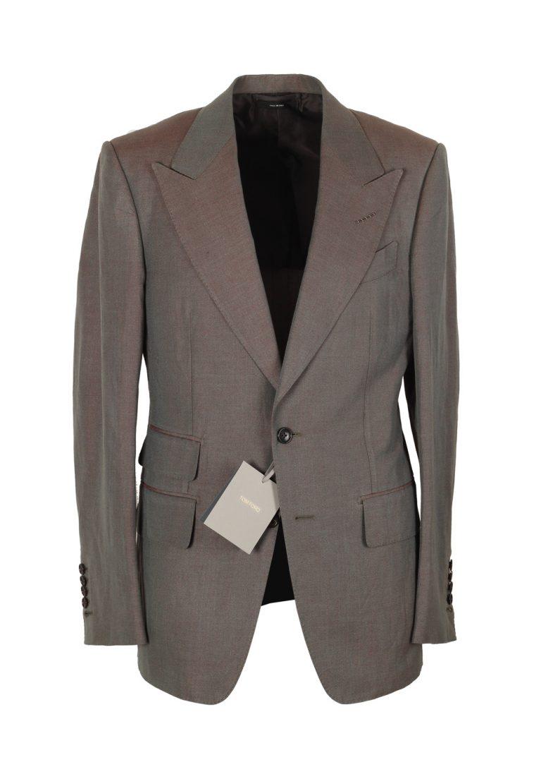 TOM FORD Shelton Grayish Copper Suit Size 46 / 36R U.S. In Silk Linen - thumbnail | Costume Limité