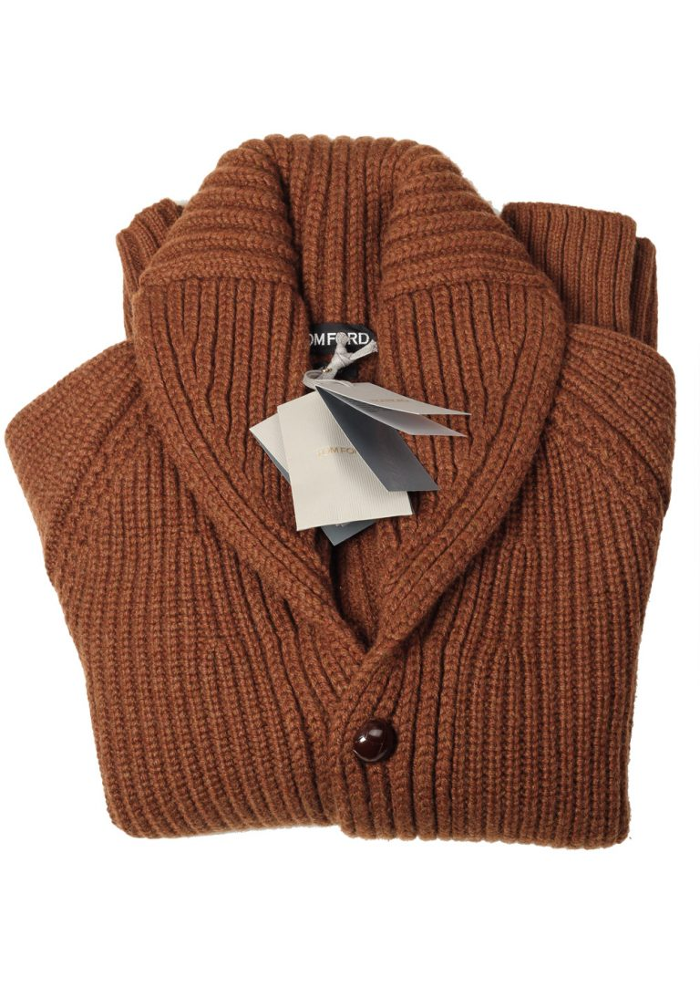 TOM FORD Brown Shawl Collar Cardigan 007 / Mcqueen Size 60 / 50R U.S. Casmere Wool - thumbnail | Costume Limité