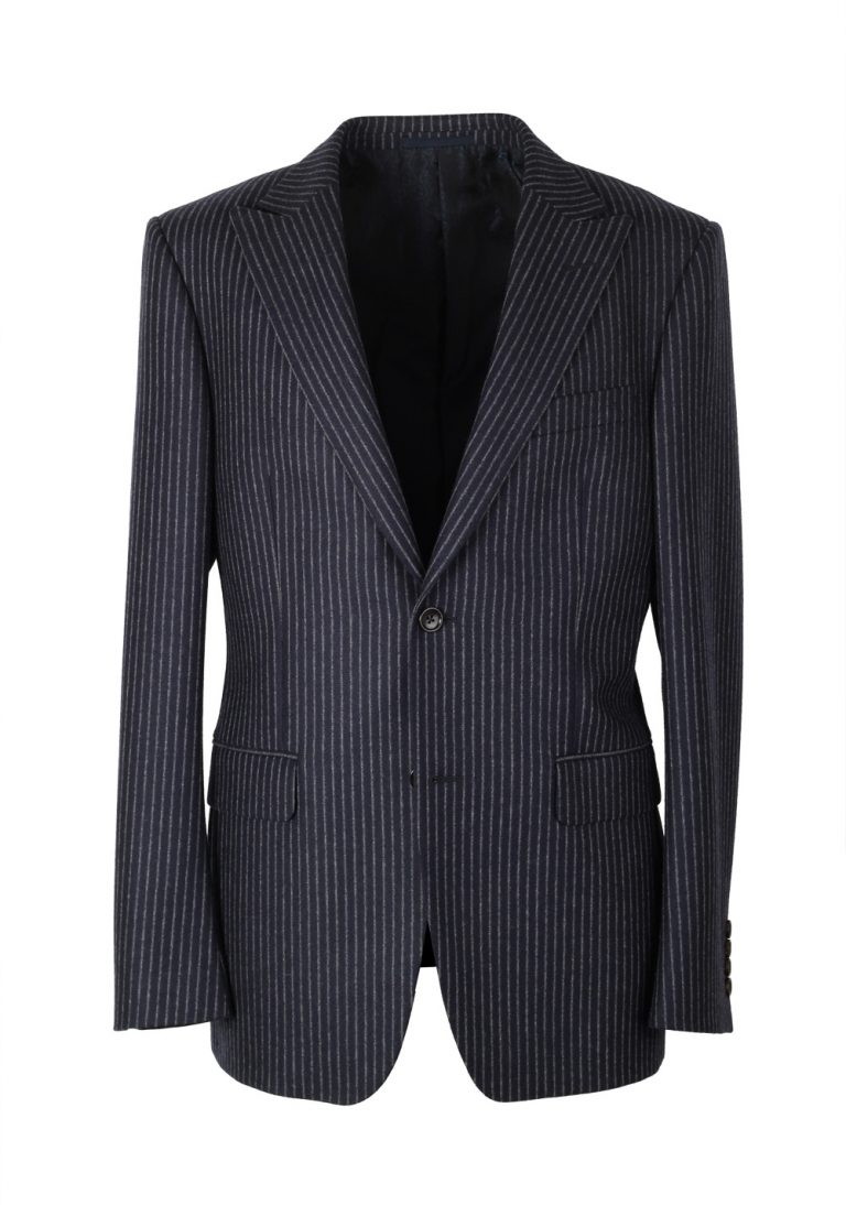 Gucci Navy Flannel Striped Suit Size 48 / 38R U.S. In Wool - thumbnail | Costume Limité