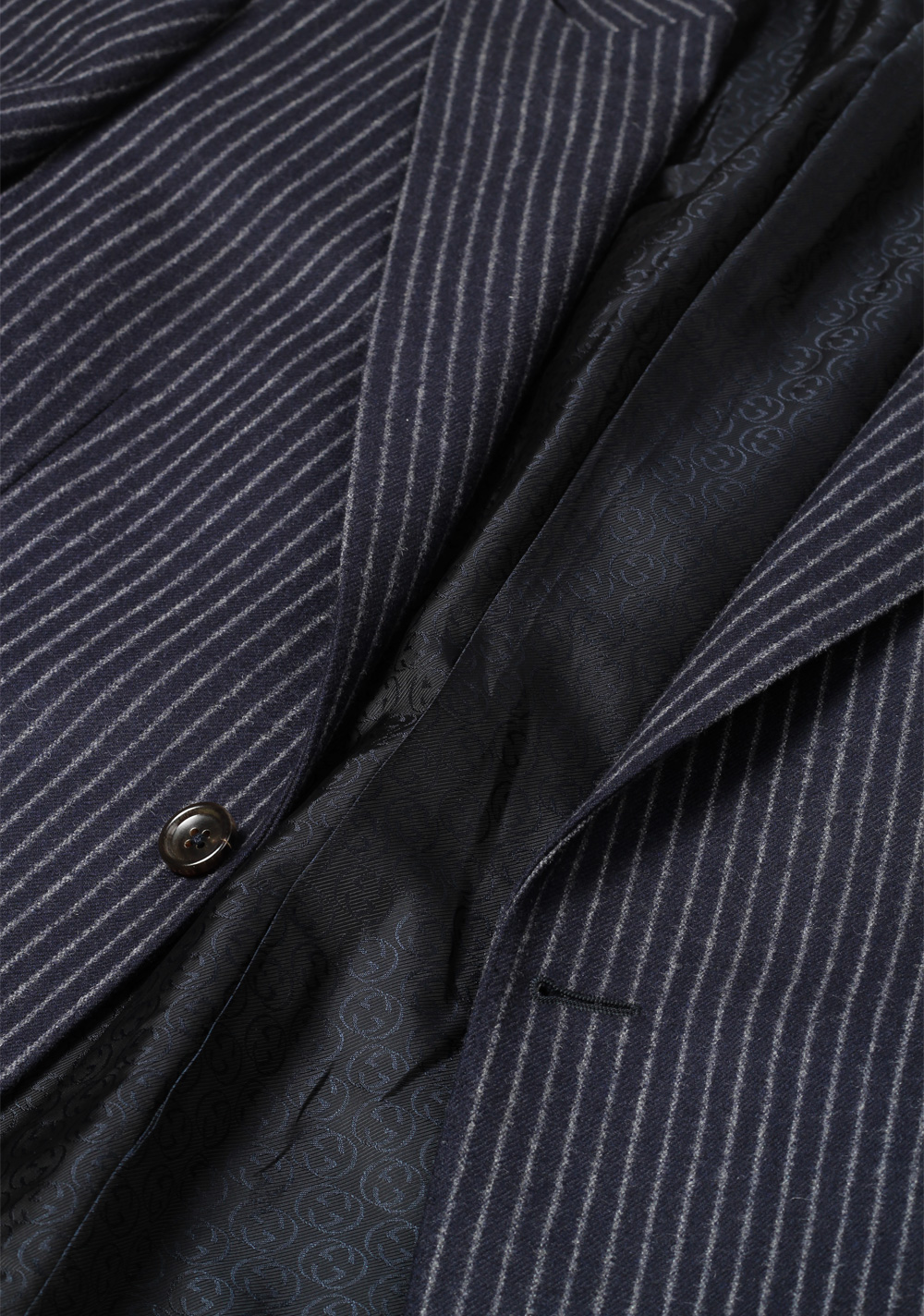 Gucci Navy Flannel Striped Suit Size 48 / 38R U.S. In Wool | Costume Limité