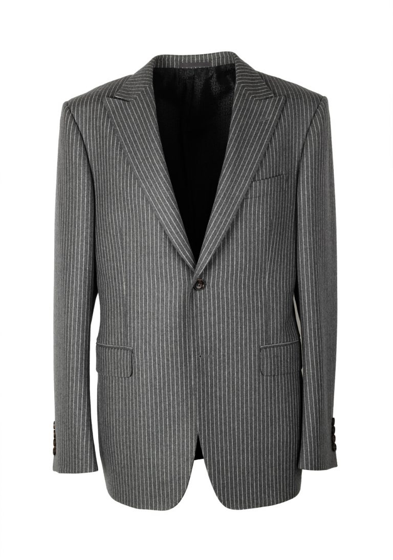 Gucci Gray Flannel Striped Suit Size 52 / 42R U.S. In Wool - thumbnail | Costume Limité