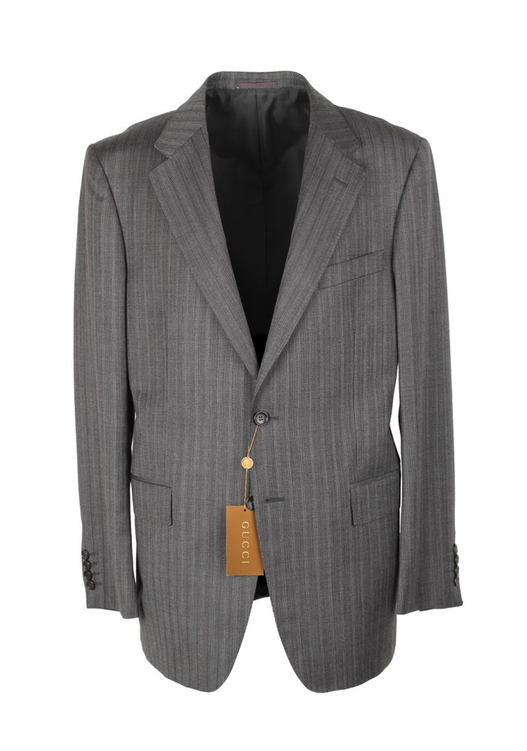 Gucci Gray Striped Suit Size 52 / 42R U.S. In Wool Mohair - thumbnail | Costume Limité