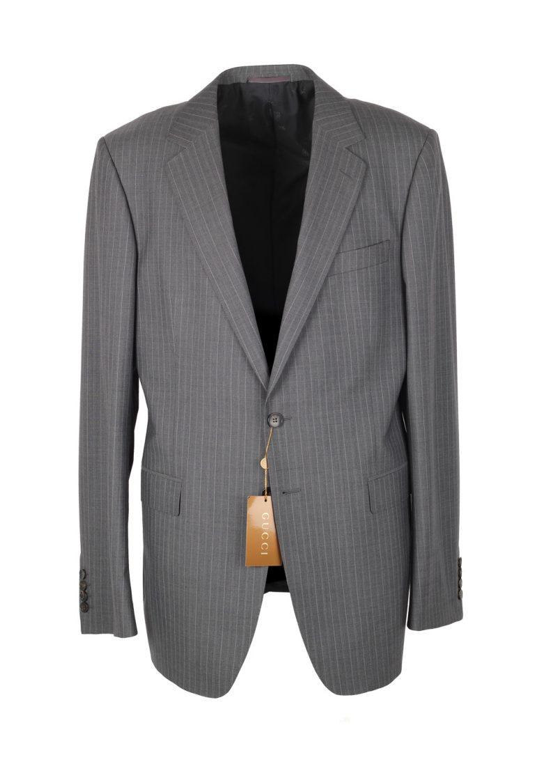 Gucci Gray Flannel Striped Suit Size 52L / 42L U.S. In Wool - thumbnail | Costume Limité