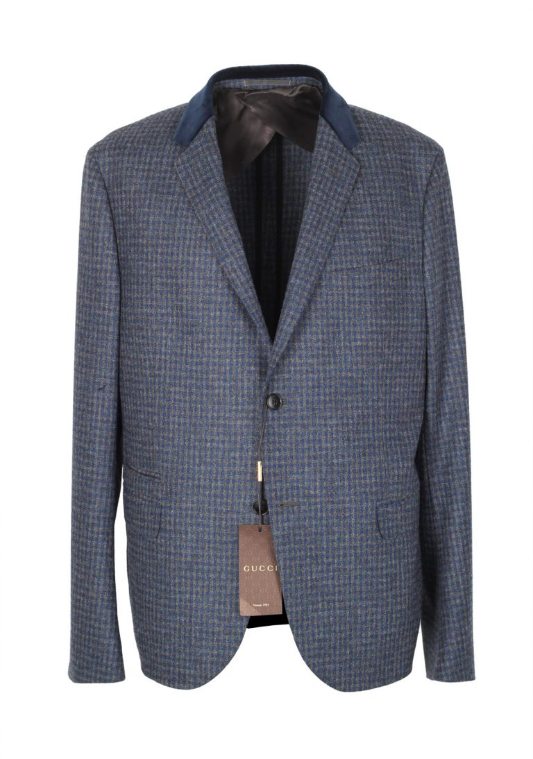 Gucci Blue Checked Sport Coat Size 54 / 44R U.S. In Wool - thumbnail | Costume Limité