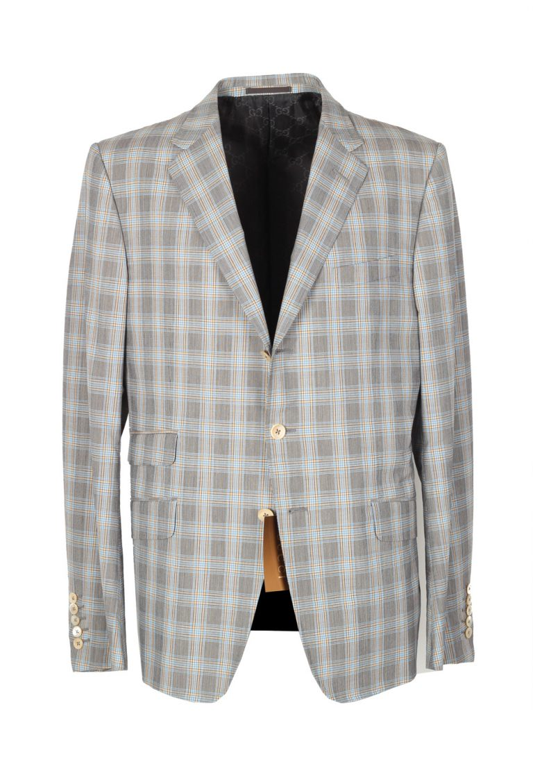 Gucci Gray Checked Sport Coat Size 52 / 42R U.S. In Wool Cotton - thumbnail | Costume Limité