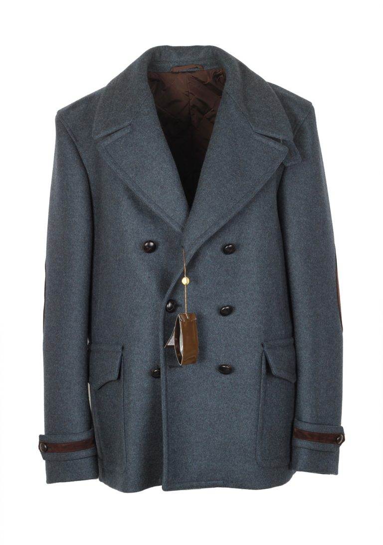 Gucci Blueish Gray Double Breasted Peacoat Size 54 / 44R U.S. In Wool - thumbnail | Costume Limité