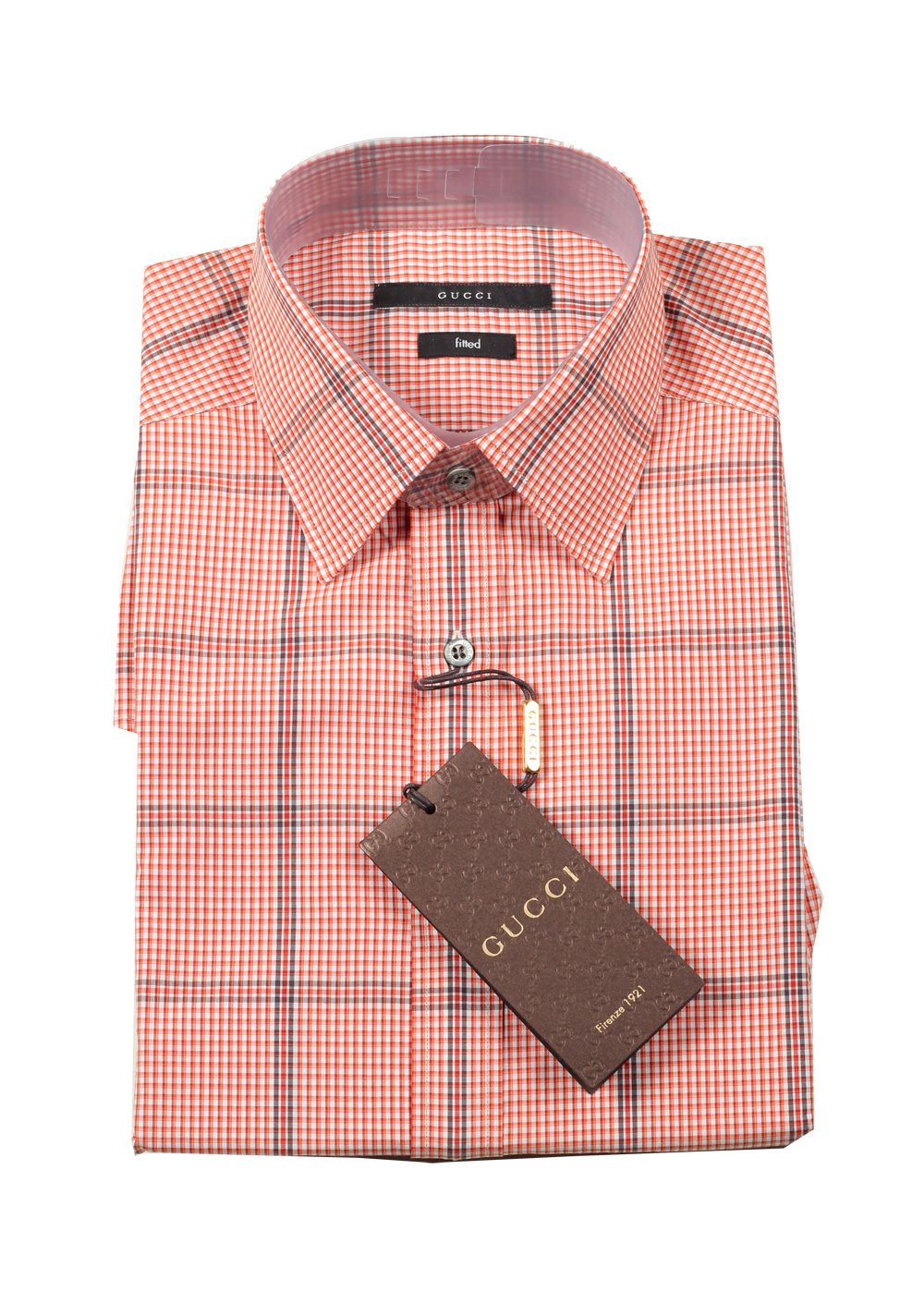 Gucci checked orange dress shirt size 40 15 75 u s for Size 15 dress shirt