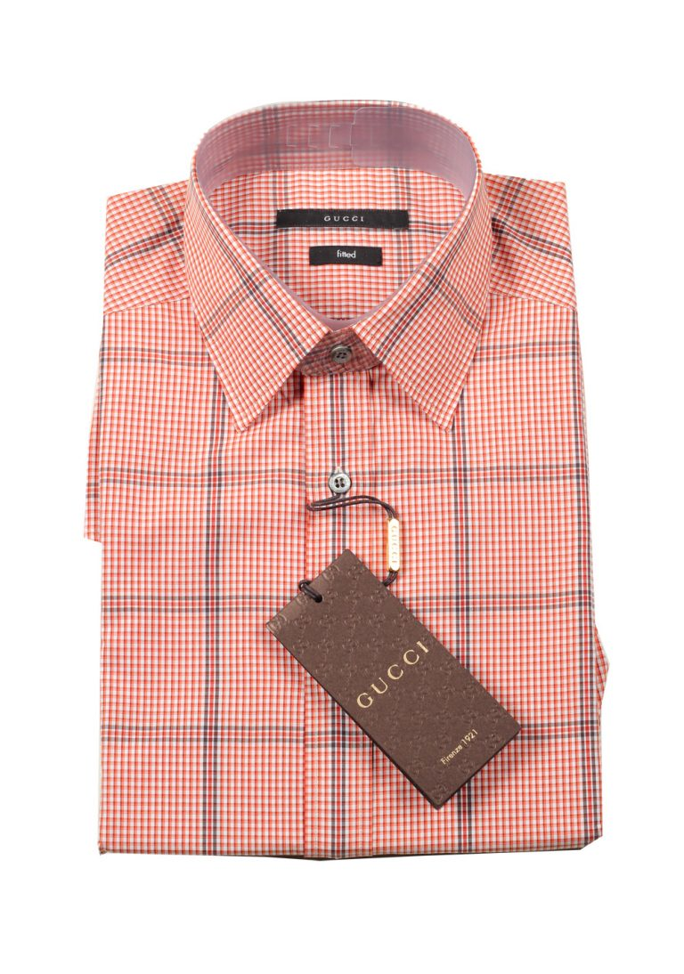 Gucci Checked Orange Dress Shirt Size 40 / 15,75 U.S. Fitted - thumbnail | Costume Limité