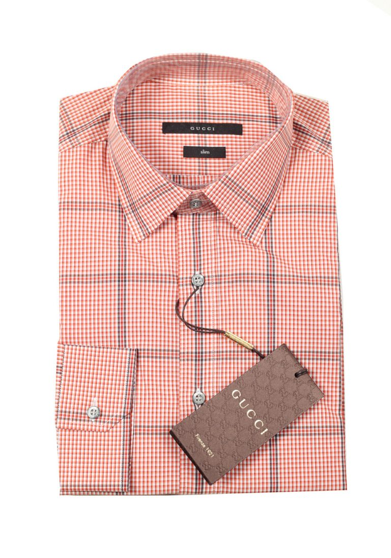 Gucci Checked Orange Dress Shirt Size 39 / 15,5 U.S. Slim - thumbnail | Costume Limité