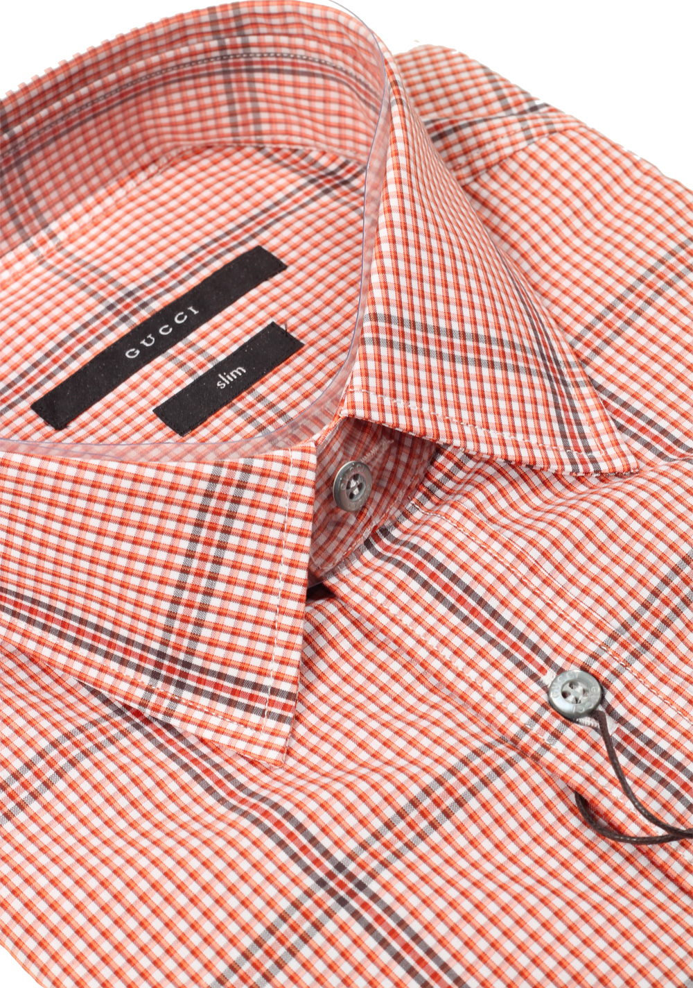 Gucci Checked Orange Dress Shirt Size 40 / 15,75 U.S. Slim | Costume Limité