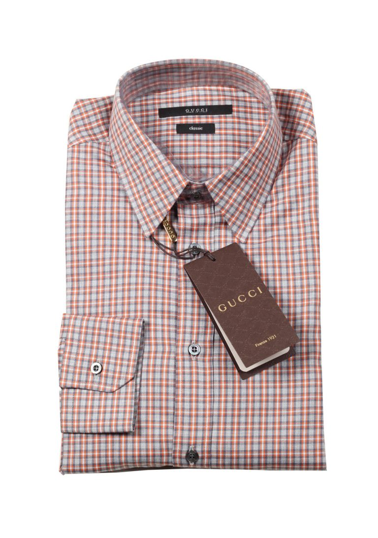 Gucci Checked Orange Dress Shirt Size 38 / 15 U.S. Classic - thumbnail | Costume Limité