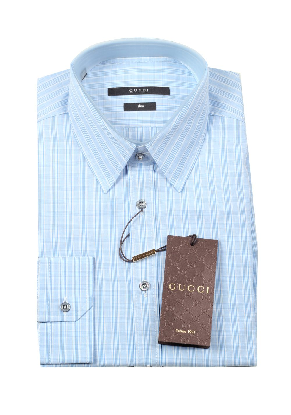 Gucci checked blue dress shirt size 40 15 75 u s slim for Size 15 dress shirt