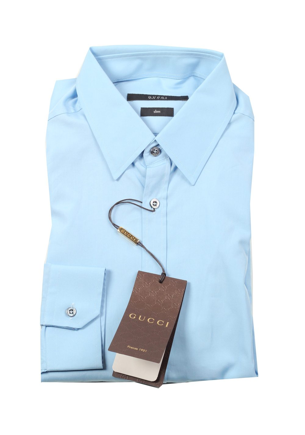 Gucci solid blue dress shirt size 39 15 5 u s slim for Size 15 dress shirt
