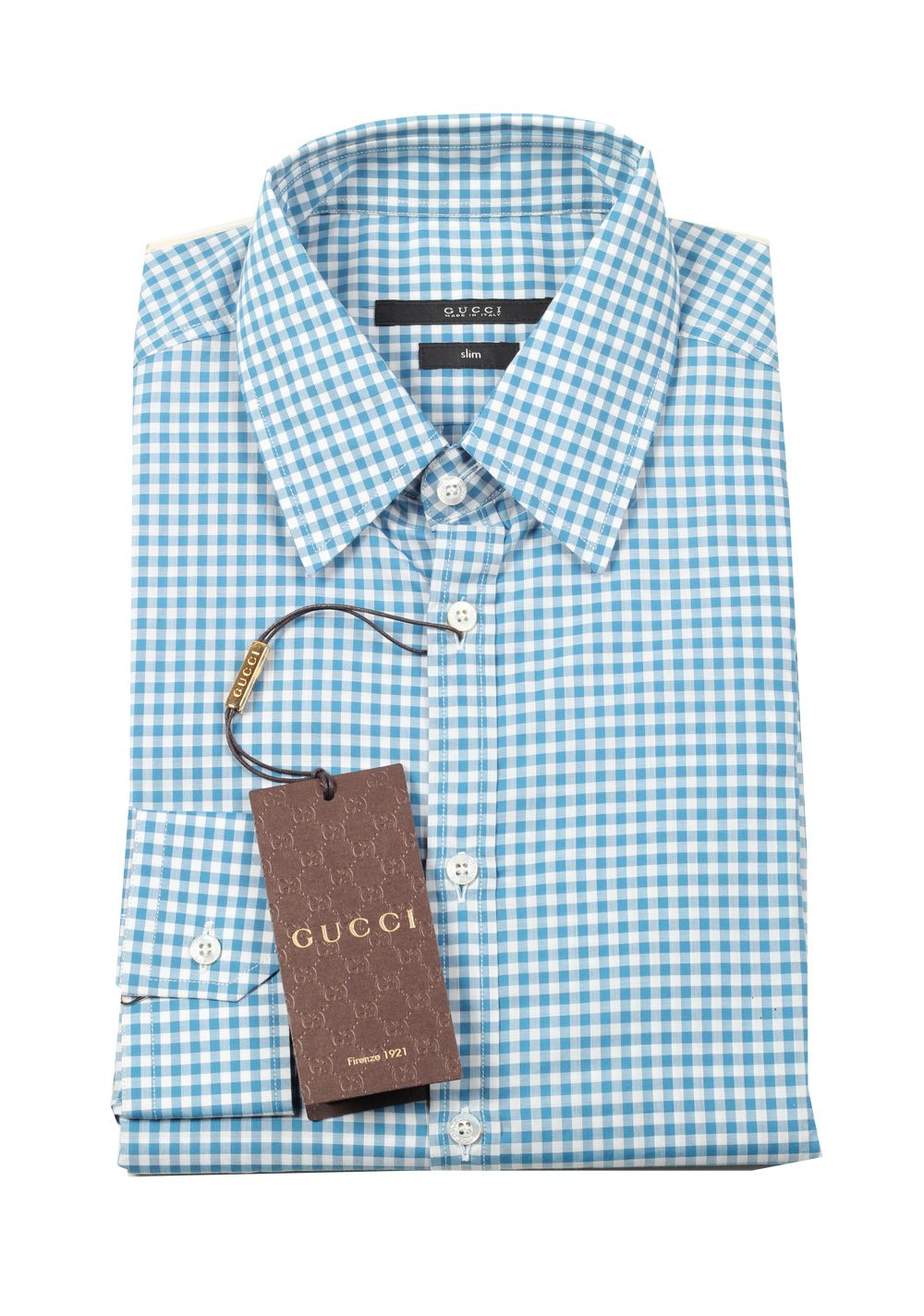 Gucci checked blue dress shirt size 38 15 u s slim for Size 15 dress shirt