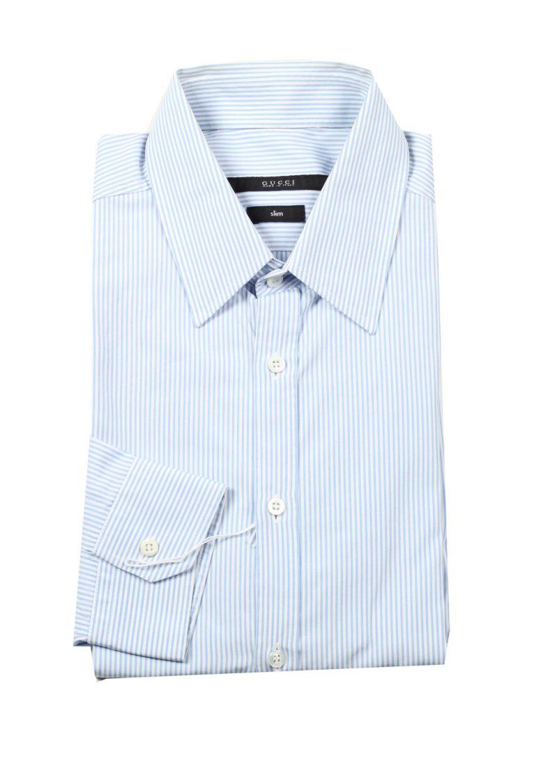 Gucci Striped Blue White Dress Shirt Size 39 / 15,5 U.S. Slim - thumbnail | Costume Limité