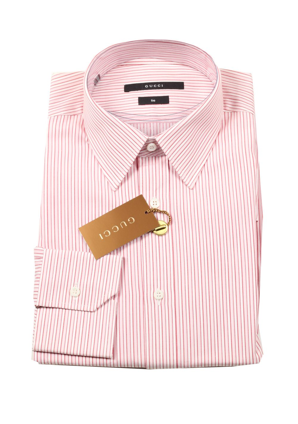 Gucci striped pink dress shirt size 40 15 75 u s tie for Size 15 dress shirt