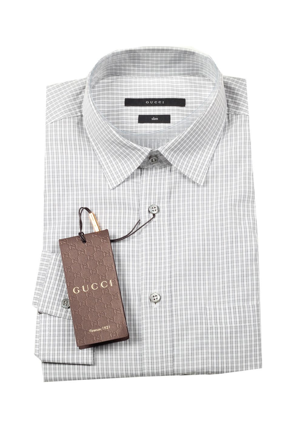 Gucci checked gray dress shirt size 40 15 75 u s slim for Size 15 dress shirt