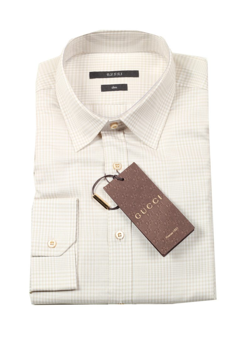 Gucci Checked Beige Dress Shirt Size 41 / 16 U.S. Slim - thumbnail | Costume Limité