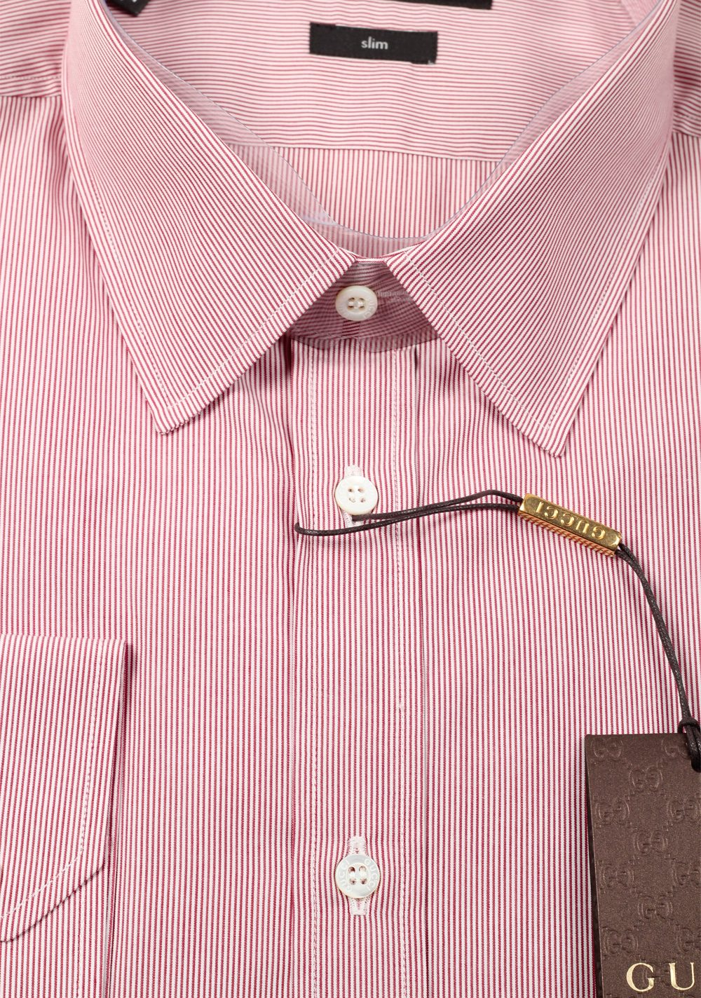 Gucci Striped Red White Dress Shirt Size 40 / 15,75 U.S. Slim | Costume Limité