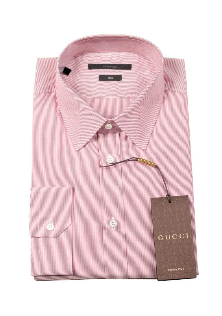 Gucci Striped Red White Dress Shirt Size 43 / 17 U.S. Slim - thumbnail | Costume Limité