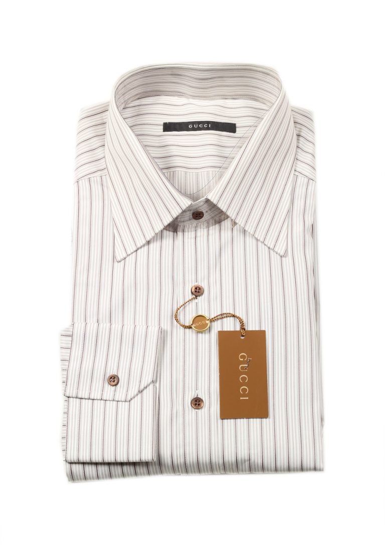 Gucci Striped Gray Dress Shirt Size 44 / 17,5 U.S. - thumbnail | Costume Limité