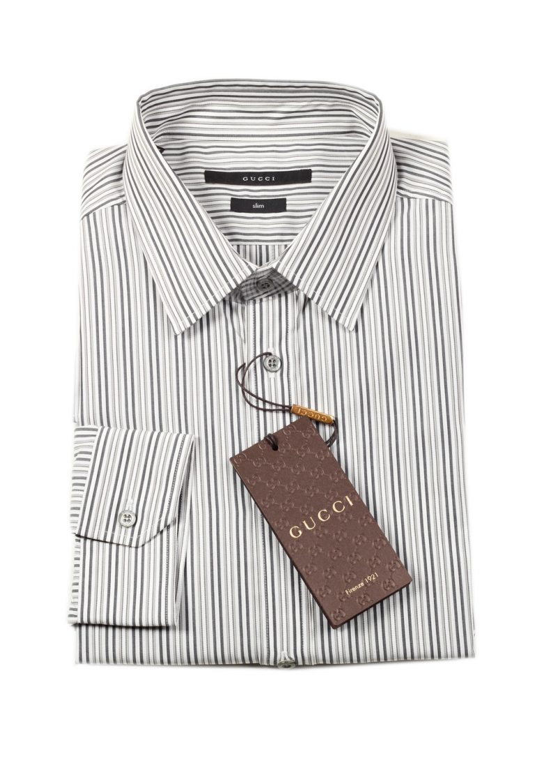 Gucci Striped Gray White Dress Shirt Size 42 / 16,5 U.S. Slim - thumbnail | Costume Limité