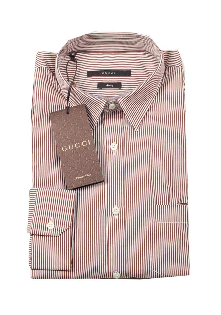 Gucci Striped Brown White Dress Shirt Size 39 / 15,5 U.S. Skinny - thumbnail | Costume Limité