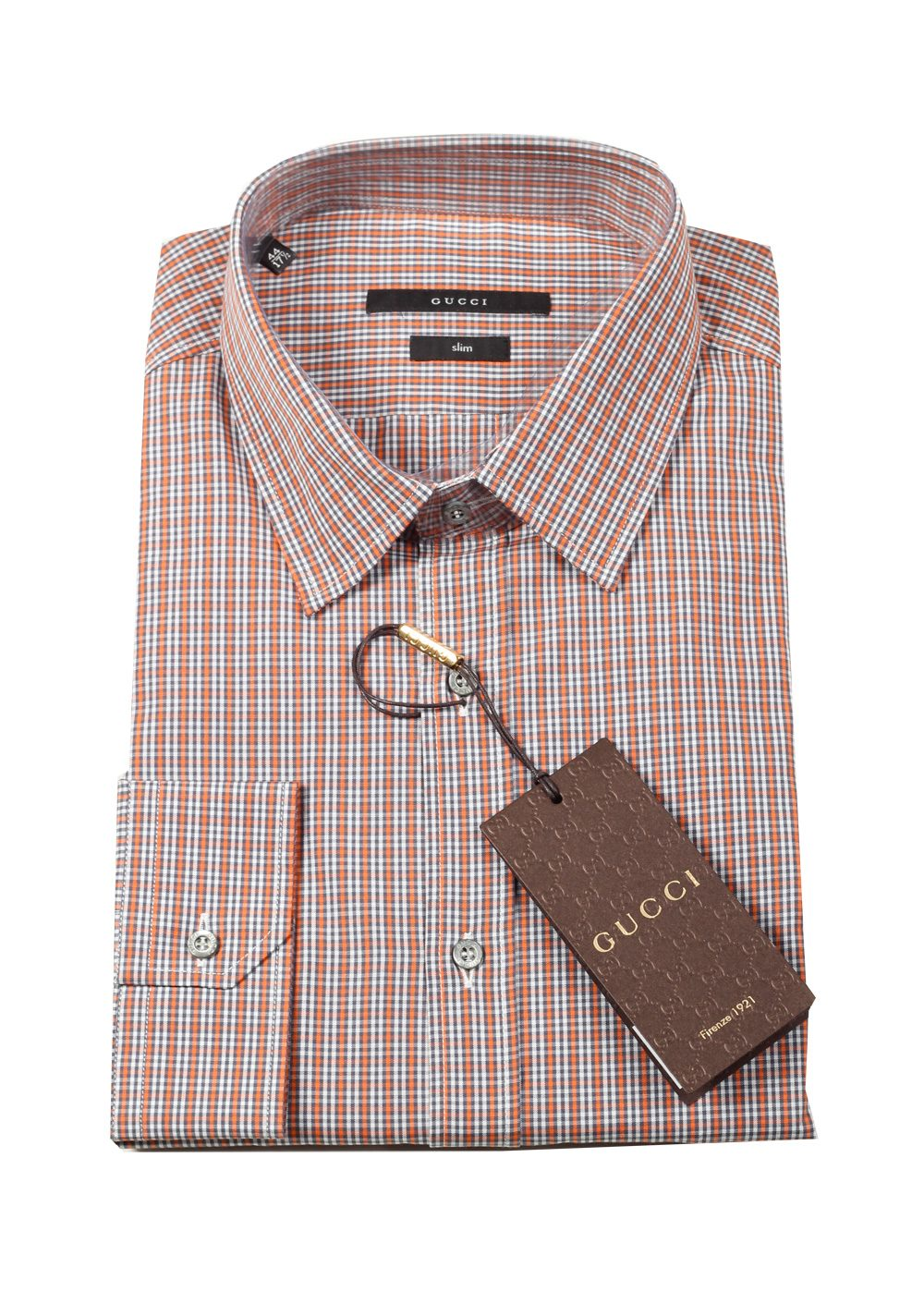 Gucci checked orange dress shirt size 40 15 75 u s slim for Size 15 dress shirt
