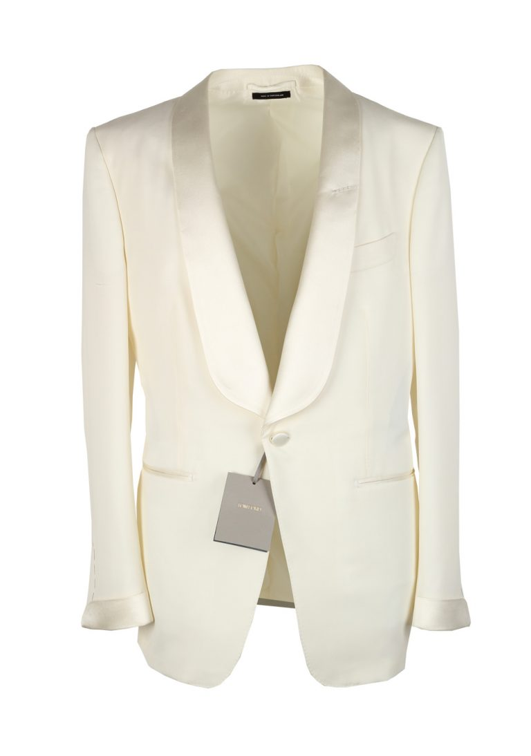 TOM FORD O'Connor Shawl Collar Ivory Sport Coat Tuxedo Dinner Jacket Size 46C / 36S U.S. Fit Y - thumbnail | Costume Limité