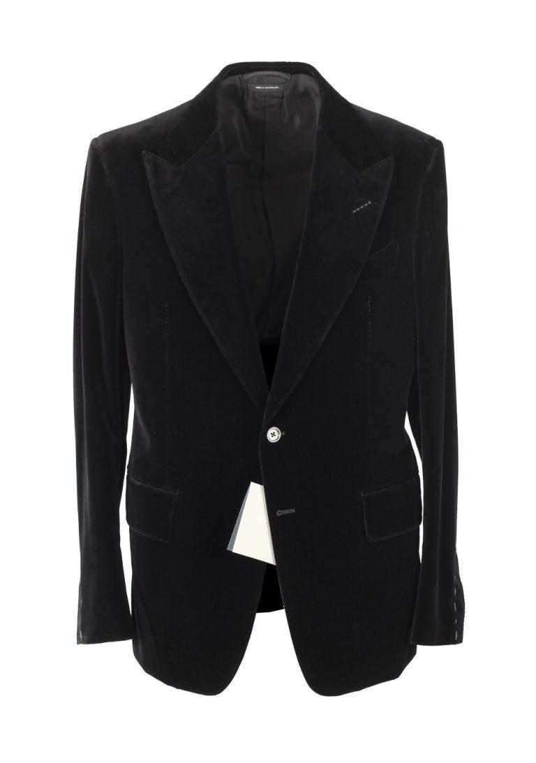 TOM FORD Shelton Black Sport Coat Velvet Tuxedo Dinner Jacket Size 50 / 40R U.S. Cotton - thumbnail | Costume Limité