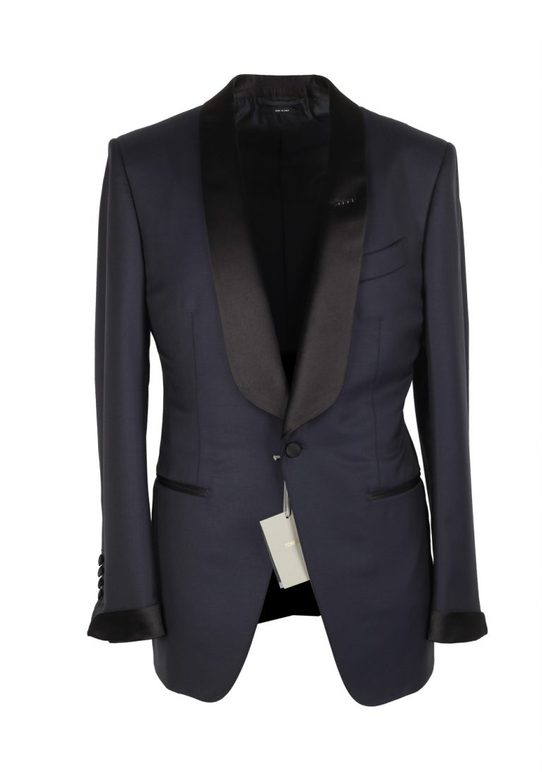 TOM FORD O'Connor Midnight Blue Shawl Collar Tuxedo Smoking Suit Size 46 / 36R U.S. Fit Y - thumbnail | Costume Limité
