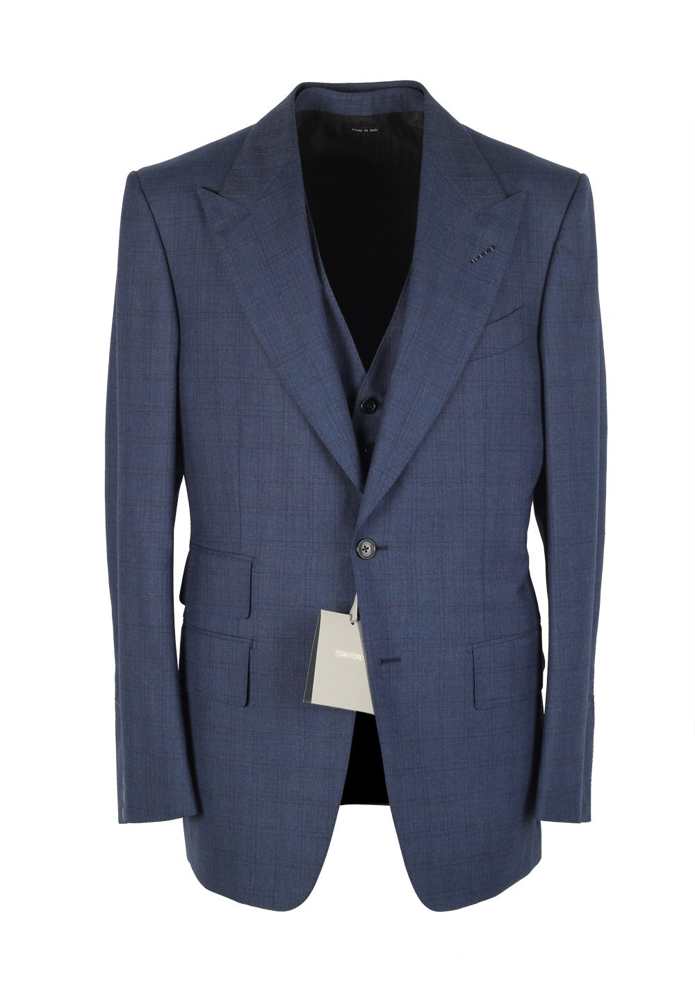 Tom Ford Windsor Checked Blue 3 Piece Suit Size 54 44r U