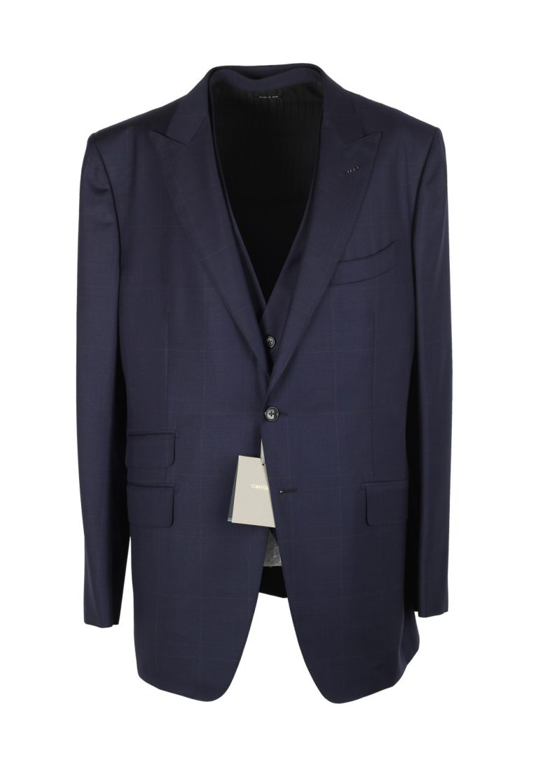 TOM FORD O'Connor Blue Checked 3 Piece Suit Size 56L / 46L U.S. Wool Fit Y - thumbnail | Costume Limité