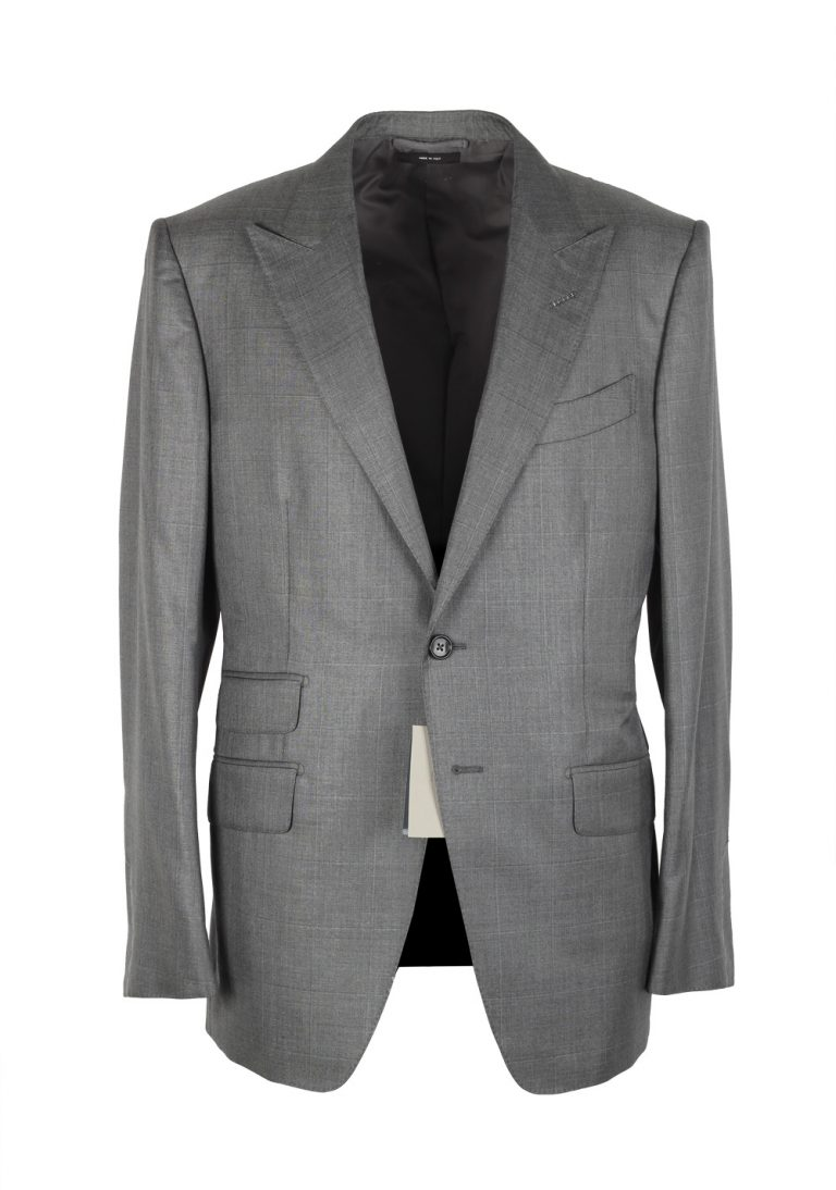 TOM FORD O'Connor Checked Gray Suit Size 54 / 44R U.S. Silk Wool Fit Y - thumbnail | Costume Limité