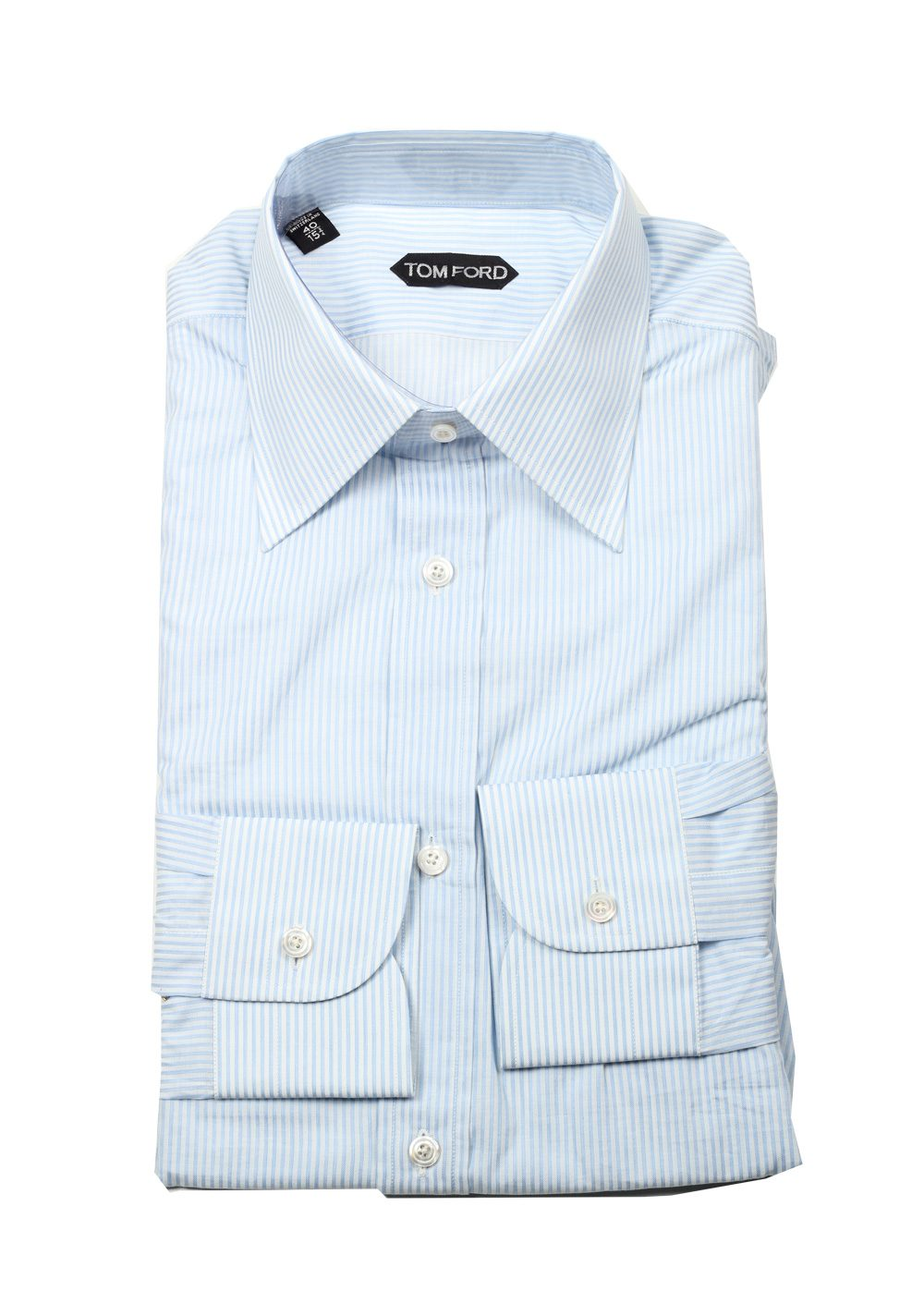 Tom ford striped white blue dress shirt size 40 15 75 u for Size 15 dress shirt